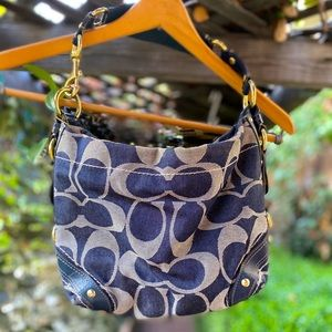 Coach soft blue canvas hobo bag